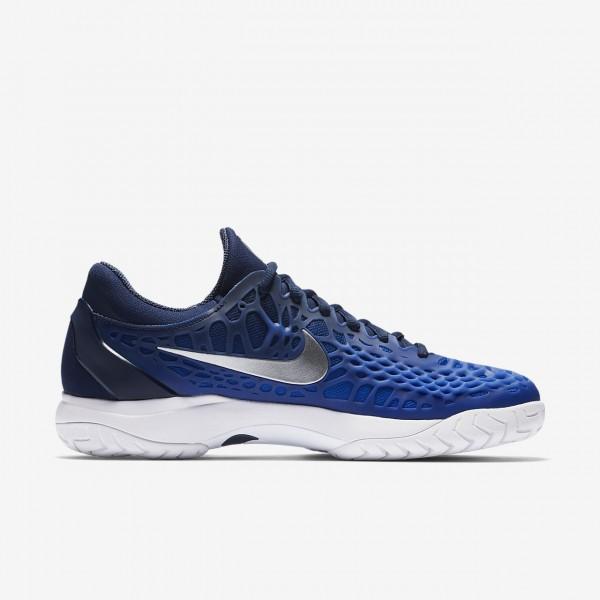 Nike Zoom Cage 3 Tennisschuhe Herren Navy Blau Weiß Metallic Silber 624-52892