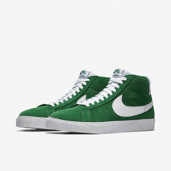 Nike Sb Zoom Blazer Mid Skaterschuhe Herren Grün Weiß 722-42521