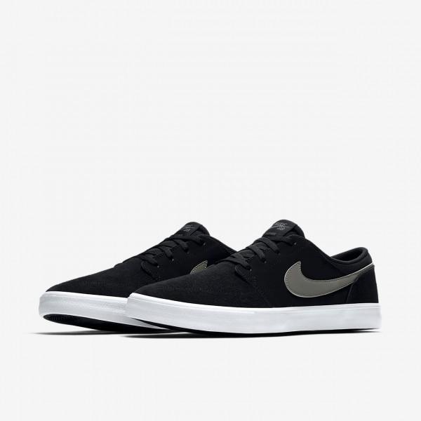 Nike Sb Solarsoft Portmore II Skaterschuhe Herren Schwarz Weiß Dunkelgrau 263-84483