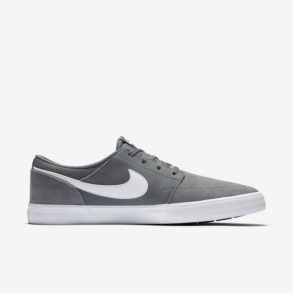 Nike Sb Solarsoft Portmore II Skaterschuhe Herren Grau Schwarz Weiß 294-32291