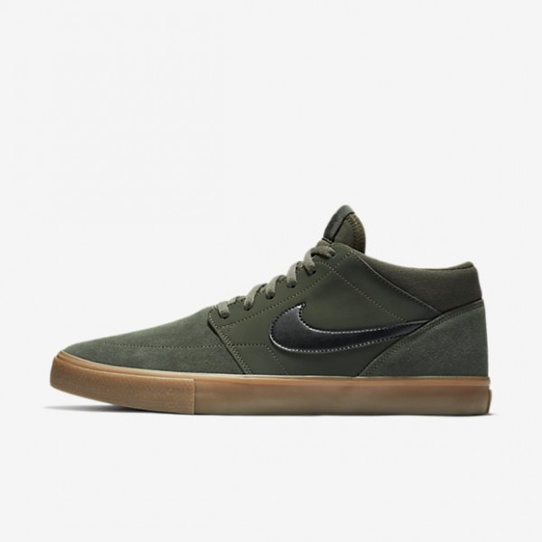 Nike Sb Solarsoft Portmore II Mid Skaterschuhe Herren Dunkelolive Braun Schwarz 543-76532
