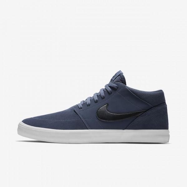 Nike Sb Solarsoft Portmore II Mid Skaterschuhe Herren Blau Weiß Schwarz 503-99131