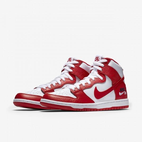 Nike Sb Dunk Pro high Skaterschuhe Herren Rot Weiß Obsidian 673-21661