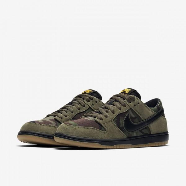 Nike Sb Dunk low Pro Skaterschuhe Herren Olive Hellbraun Gold Schwarz 739-40689