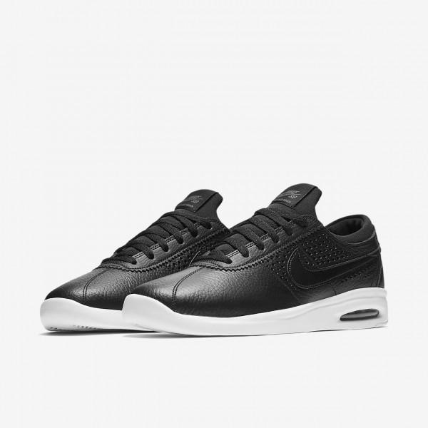 Nike Sb Air Max Bruin Vapor Leder Skaterschuhe Herren Schwarz Dunkelgrau 909-13888