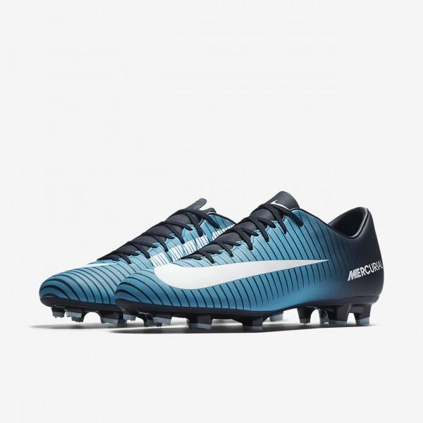 Nike Mercurial Victory VI Fg Fußballschuhe Herren Obsidian Blau Weiß 446-34070