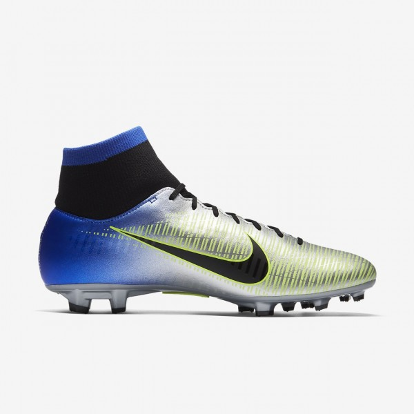 Nike Mercurial Victory VI Dynamic Fit Neymar Fg Fußballschuhe Herren Blau Silber Grün Schwarz 578-17