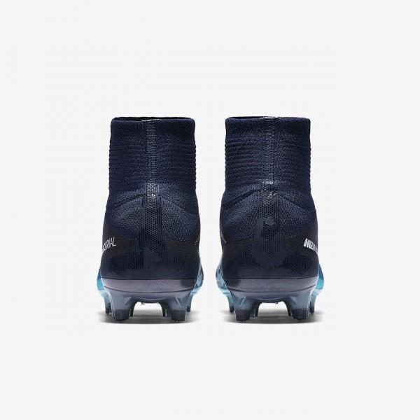 Nike Mercurial Superfly V Fg Fußballschuhe Herren Obsidian Blau Weiß 569-17673