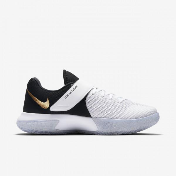 Nike Zoom Live Basketballschuhe Damen Weiß Metallic Gold Platin Schwarz 239-76860