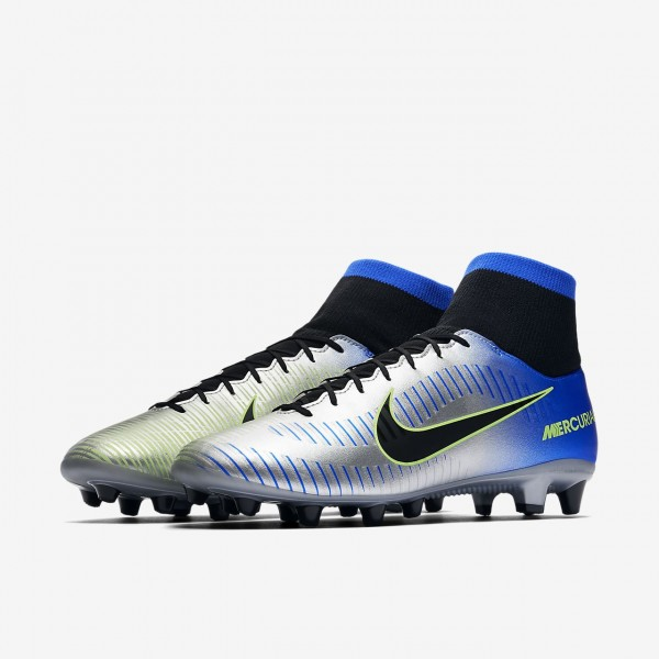 Nike Mercurial Victory VI Dynamic Fit Neymar Ag-pro Fußballschuhe Herren Blau Silber Grün Schwarz 30