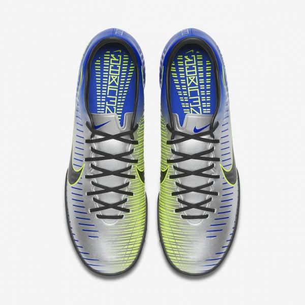 Nike Mercurialx Victory VI Neymar Tf Fußballschuhe Damen Blau Silber Grün Schwarz 491-96241