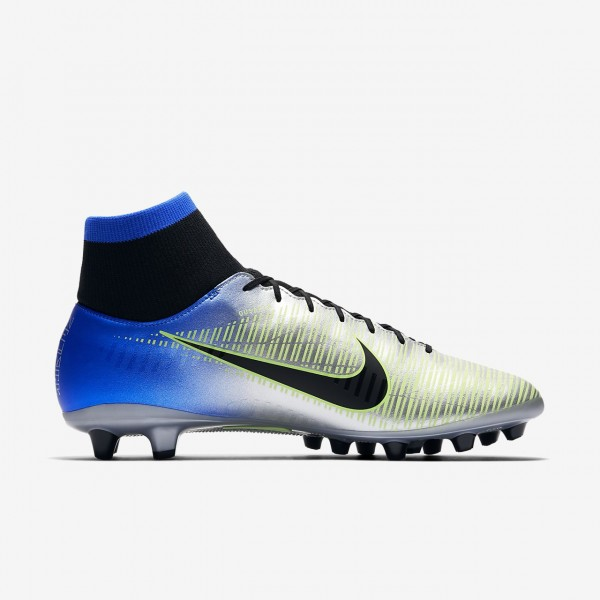 Nike Mercurial Victory VI Dynamic Fit Neymar Ag-pro Fußballschuhe Damen Blau Silber Grün Schwarz 221