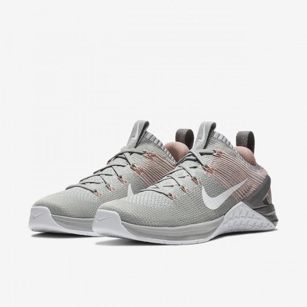 Nike Metcon Dsx Flyknit 2 Trainingsschuhe Damen Silber Pink Weiß 754-41128