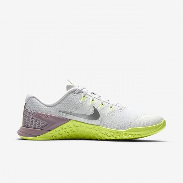 Nike Metcon 4 Trainingsschuhe Damen Weiß Rosa Grün Metallic Silber 601-78471