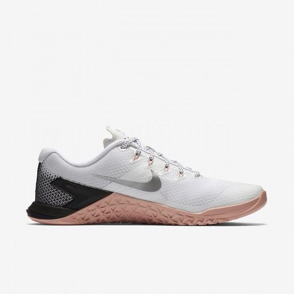 Nike Metcon 4 Trainingsschuhe Damen Weiß Pink Schwarz Metallic Silber 676-14798