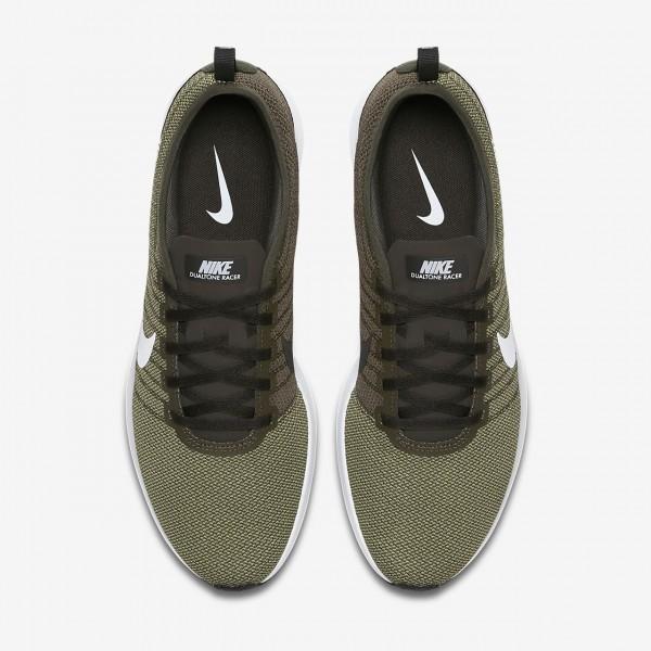 Nike Dualtone Racer Freizeitschuhe Herren Khaki Olive Weiß 693-57356