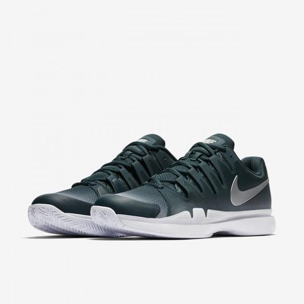 Nike Court Zoom Vapor 9 5 Tour Tennisschuhe Herren Dunkeltürkis Weiß Metallic Silber 802-51034