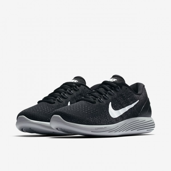 Nike Lunarglide 9 Laufschuhe Damen Schwarz Dunkelgrau Weiß 711-49097