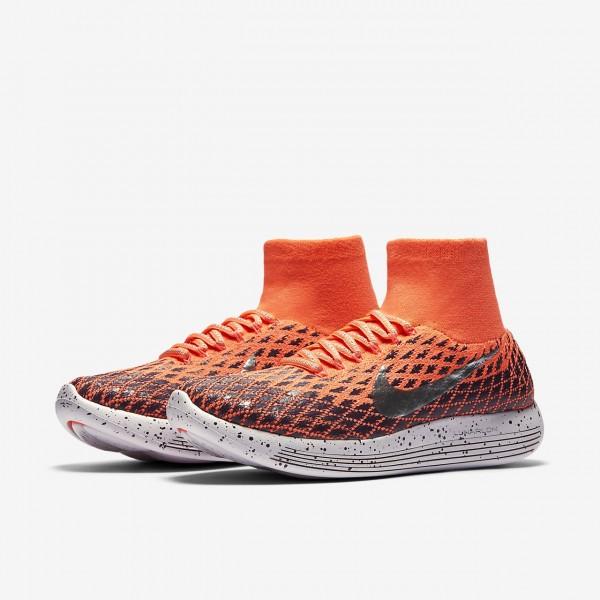 Nike Lunarepic Flyknit Shield Laufschuhe Damen Orange Lila Weiß Metallic Silber 419-59569