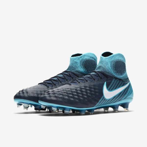 Nike Magista Obra II Fg Fußballschuhe Damen Obsidian Blau Weiß 442-50108