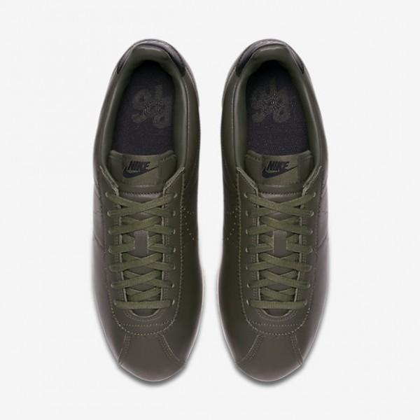 Nike Classic Cortez Leder Premium Freizeitschuhe Herren Khaki Schwarz Weiß 443-22463
