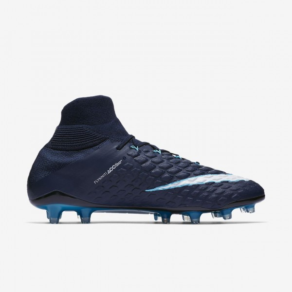 Nike Hypervenom Phantom 3 Df Fg Fußballschuhe Damen Obsidian Blau Weiß 371-89431