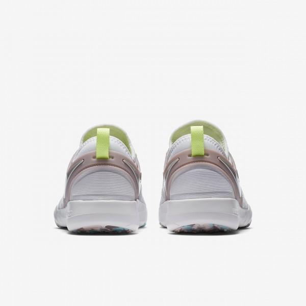 Nike Free Tr 7 Trainingsschuhe Damen Weiß Rosa Grün Metallic Silber 471-47207