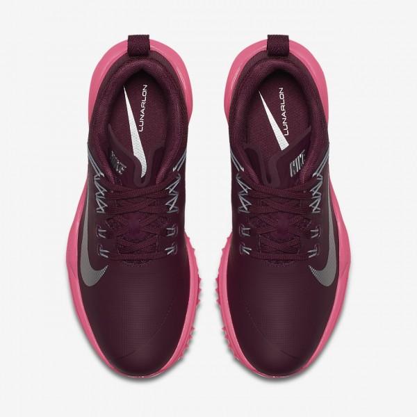 Nike Lunar Command 2 Golfschuhe Damen Bordeaux Pink Grau Metallic Silber 858-37115