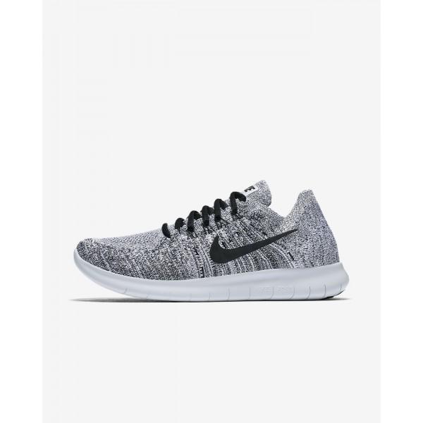 Nike Free Rn Flyknit 2017 Laufschuhe Damen Weiß Platin Schwarz 248-83567
