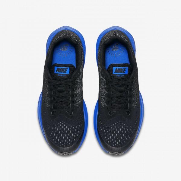 Nike Zoom Wio 4 Laufschuhe Jungen Schwarz Grau Blau Metallic Silber 646-17017