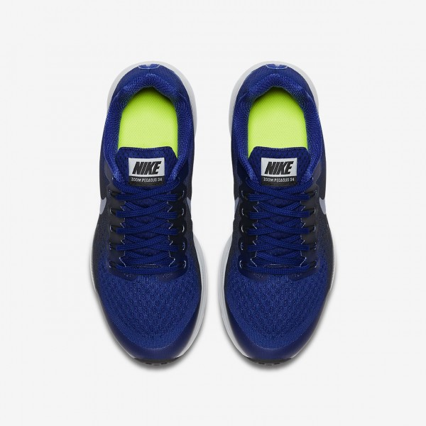 Nike Zoom Pegasus 34 Laufschuhe Jungen Tiefes Königsblau Blau Dunkelobsidian Grau Dunkelblau 346-537