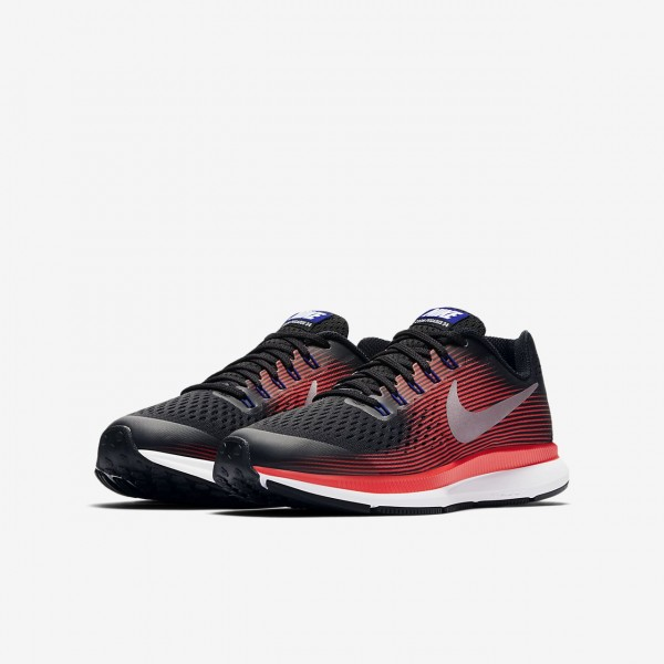 Nike Zoom Pegasus 34 Laufschuhe Jungen Schwarz Rot Metallic Silber 716-26195