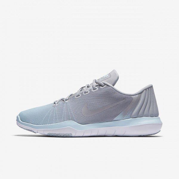 Nike Flex Supreme Tr 5 Reflect Trainingsschuhe Damen Grau Weiß Blau 982-31018
