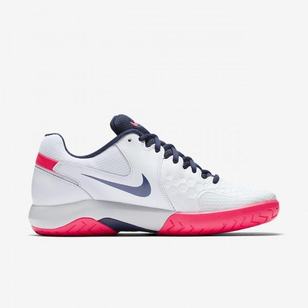 Nike Court Air Zoom Resistance Tennisschuhe Damen Weiß Platin Rot Blau 633-56178