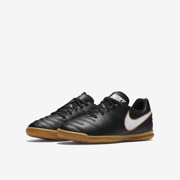 Nike Jr. Tiempo Rio III Ic Fußballschuhe Jungen Schwarz Weiß 384-40350