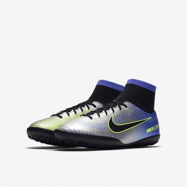 Nike Jr. Mercurialx Victory VI Dynamic Fit Neymar Tf Fußballschuhe Jungen Blau Silber Grün Schwarz 4