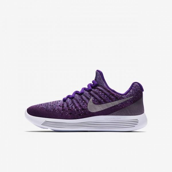 Nike Lunarepic low Flyknit 2 Laufschuhe Jungen Lila Metallic Silber 105-40410