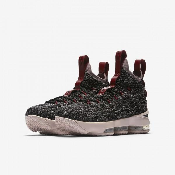 Nike Lebron 15 Basketballschuhe Jungen Schwarz Rot Metallic Gold 326-22569