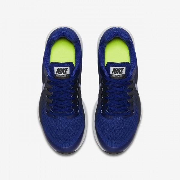 Nike Zoom Pegasus 34 Laufschuhe Mädchen Tiefes Königsblau Blau Dunkelobsidian Grau Dunkelblau 167-86