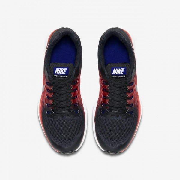 Nike Zoom Pegasus 34 Laufschuhe Mädchen Schwarz Rot Metallic Silber 985-38209