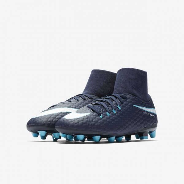 Nike Jr. Hypervenom Phelon III Dynamic Fit Ag-pro Fußballschuhe Jungen Obsidian Blau Weiß 423-18112