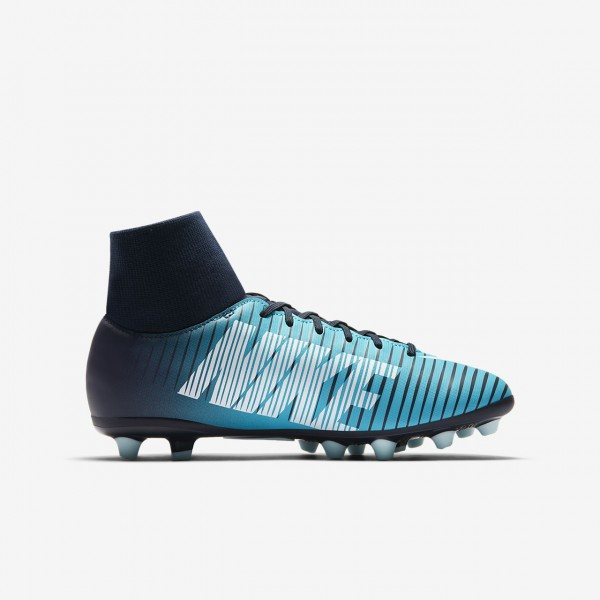 Nike Jr. Mercurial Victory VI Dynamic Fit Ag-pro Fußballschuhe Jungen Obsidian Blau Weiß 550-34307