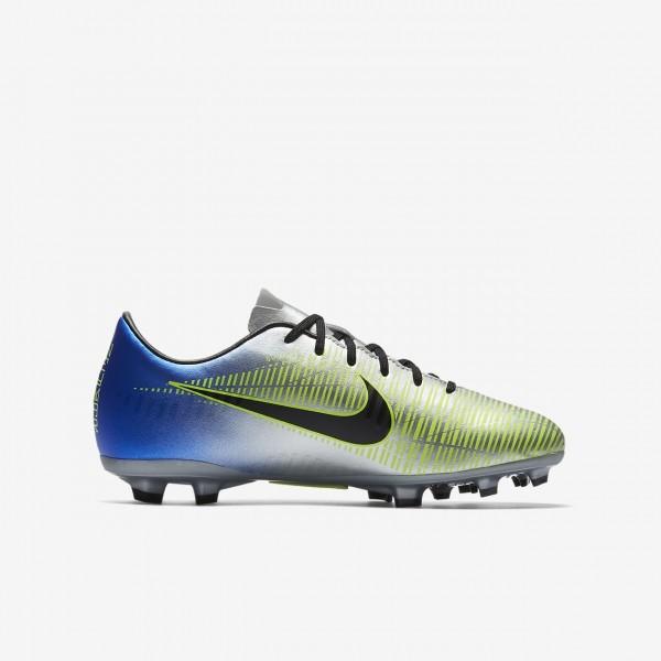 Nike Jr. Mercurial Victory VI Neymar Fg Fußballschuhe Jungen Blau Silber Grün Schwarz 611-44923