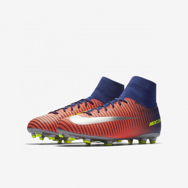 Nike Jr. Mercurial Victory VI Dynamic Fit Fußballschuhe Jungen Tiefes Königsblau Blau Rot Orange Sil