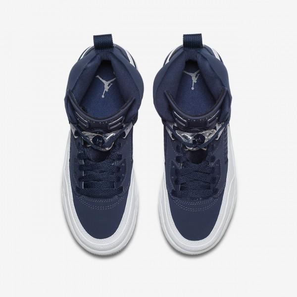 Nike Jordan Spizike Outdoor Schuhe Jungen Navy Weiß Grau Metallic Silber 160-65894