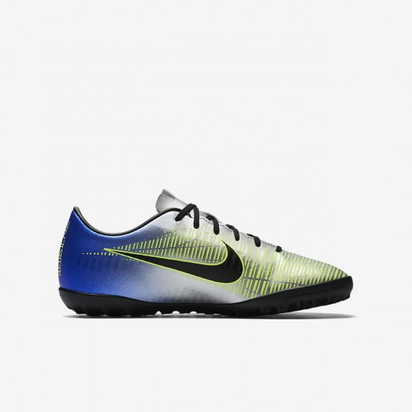 Nike Jr. Mercurialx Victory VI Neymar Tf Fußballschuhe Mädchen Blau Silber Grün Schwarz 861-24546