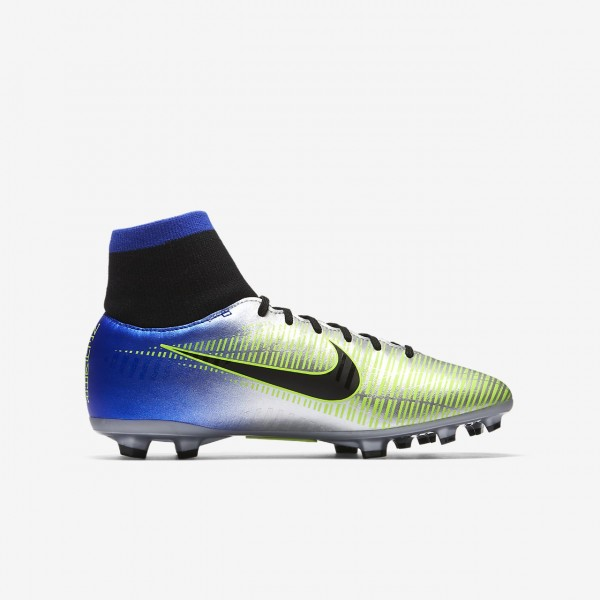 Nike Jr. Mercurial Victory VI Dynamic Fit Neymar Fg Fußballschuhe Mädchen Blau Silber Grün Schwarz 8