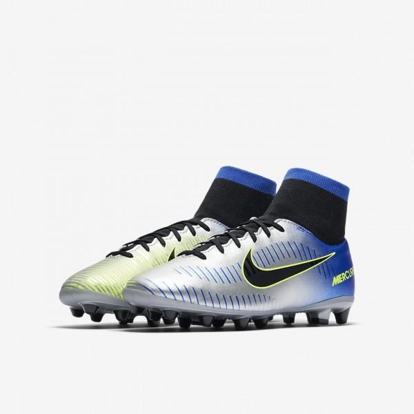 Nike Jr. Mercurial Victory VI Dynamic Fit Neymar Ag-pro Fußballschuhe Mädchen Blau Silber Grün Schwa