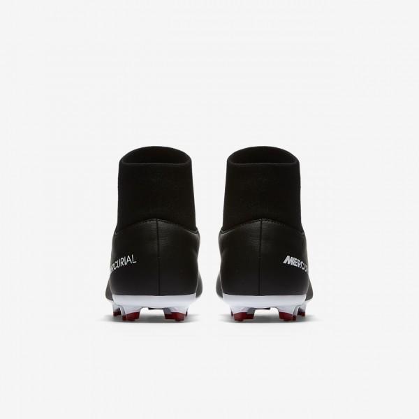 Nike Jr. Mercurial Victory VI Dynamic Fit Fußballschuhe Mädchen Schwarz Dunkelgrau Rot Weiß 901-6560