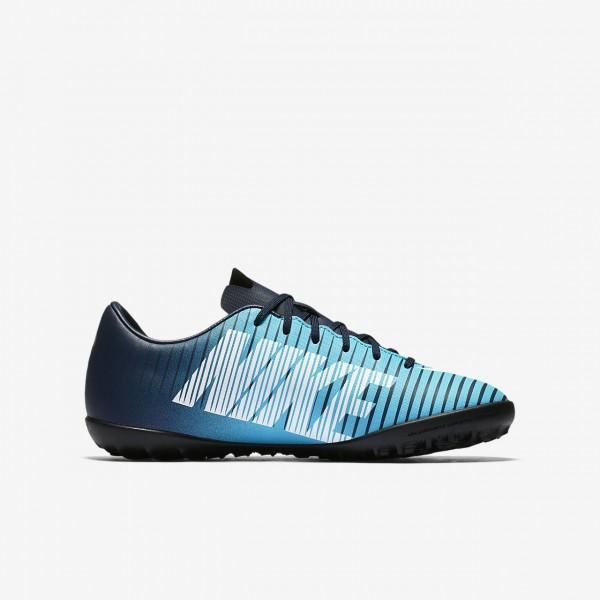 Nike Jr. Mercurial Victory VI Tf Fußballschuhe Mädchen Obsidian Blau Weiß 997-13832